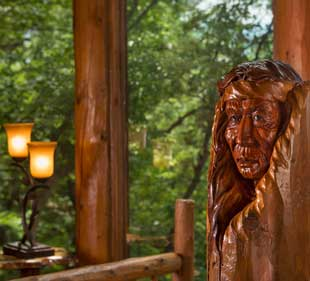 Handcarved wooden native american head