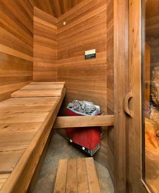 Sauna room at The Bluff House.